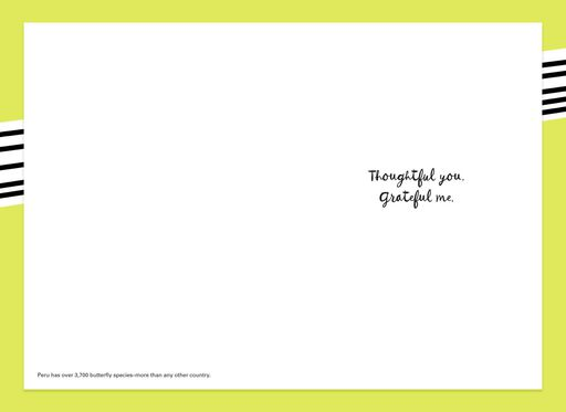 Thoughtful You Butterfly and Flowers Thank You Card,