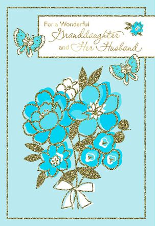 Blue Butterflies and Flowers Anniversary Card for Granddaughter and Husband