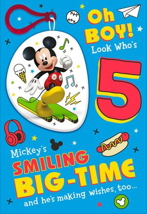 Disney Mickey Mouse 5th Birthday Card With Backpack Clip