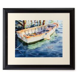 Fishing Boat With Flag 20x24 Print With Matted Frame, , large