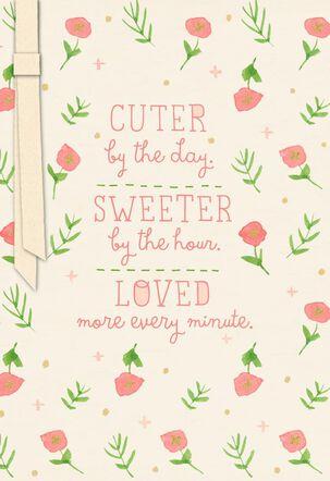 Little Pink Flowers New Baby Girl Congratulations Card