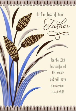 Cattails Religious Sympathy Card for Loss of Father