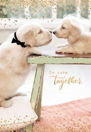 Puppies Cute Couple Wedding Card