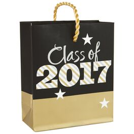 "Gold Metallic Class of 2017 Gift Card Holder Bag, 4.5"", , large"