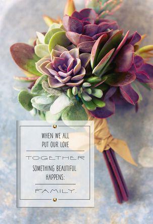 Succulent Flower Bouquet Wedding Card