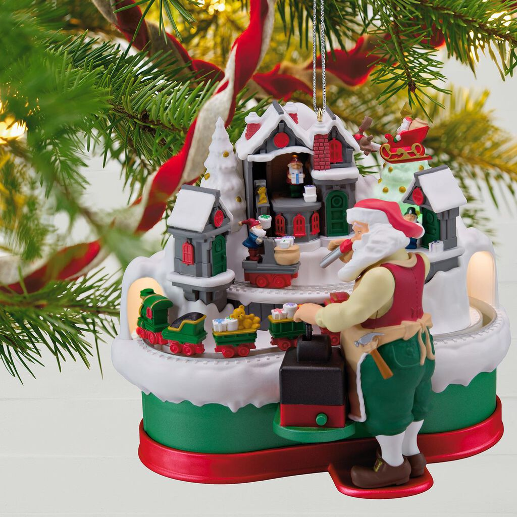 santas christmas train musical ornament with light and motion