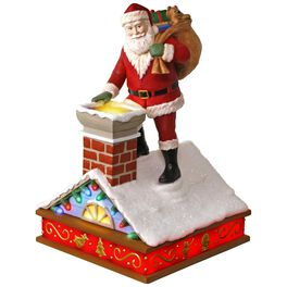 Once Upon a Christmas Up on the Housetop Santa Music Ornament With Light, , large