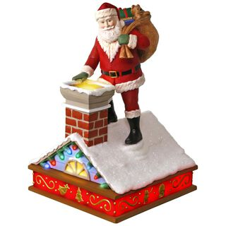 Once Upon a Christmas Up on the Housetop Santa Music Ornament With Light,
