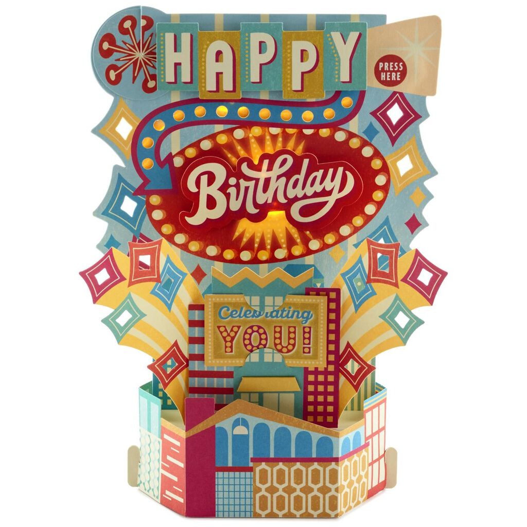 Celebrating You Musical Birthday Card With Light Greeting Cards