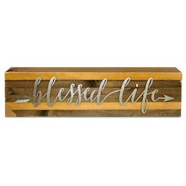 Blessed Life Wood Sign With Metal Accent, , large