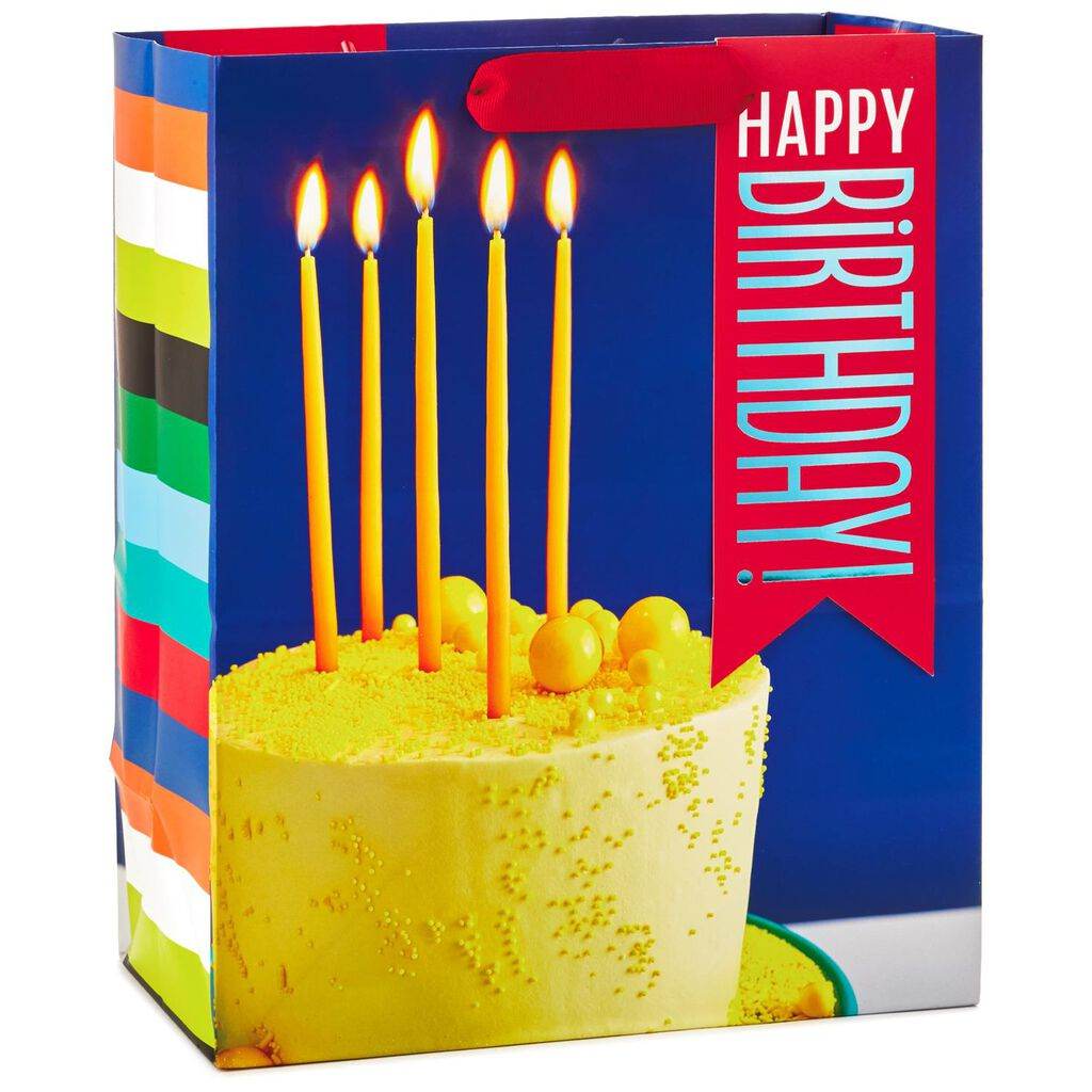 Happy Birthday Cake With Candles Large Gift Bag