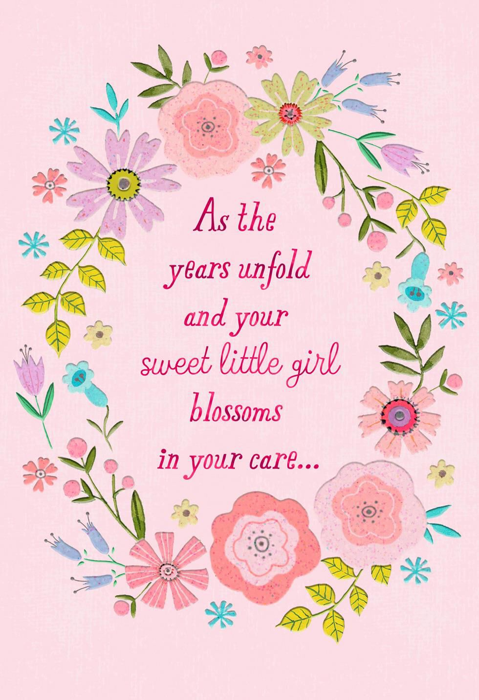 pink flowers naming ceremony new baby card for girl