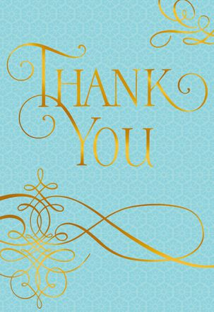 Gold Foil on Blue Thank You Card