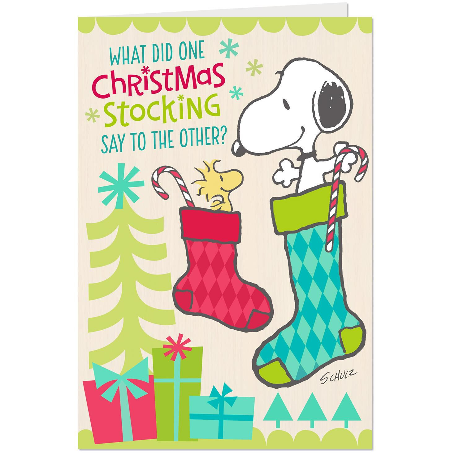 peanuts snoopy and woodstock stockings funny christmas card greeting cards hallmark