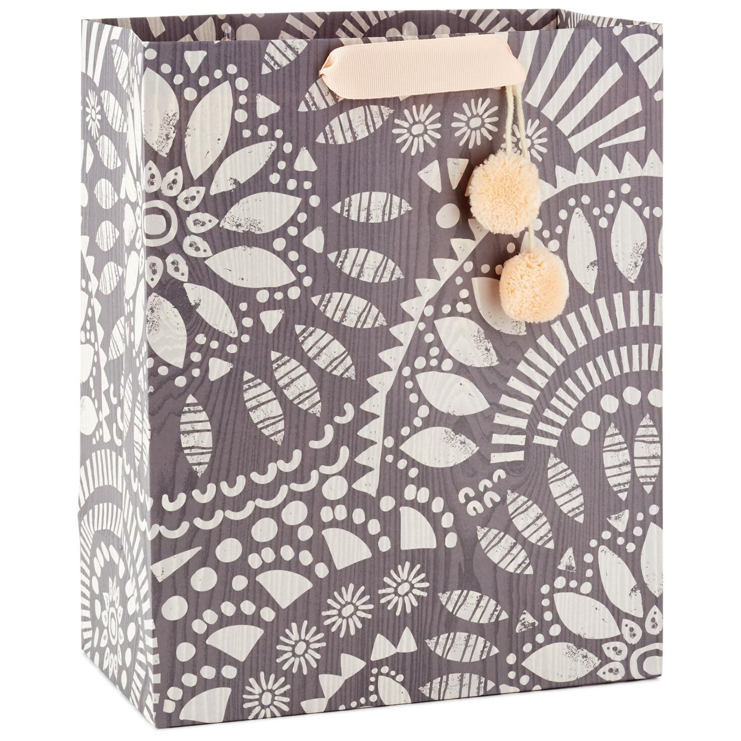 Overlapping Leaf Pattern Large Gift Bag With Pom Poms, 13\