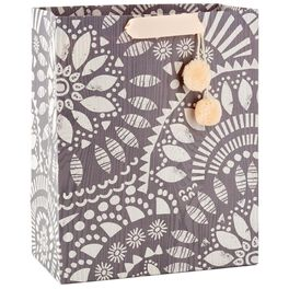 """Overlapping Leaf Pattern Large Gift Bag With Pom Poms, 13"""", , large"""