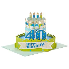 Celebrate With Cake Pop Up 40th Birthday Card, , large