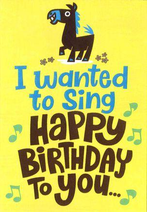 A Little Horse Funny Birthday Card