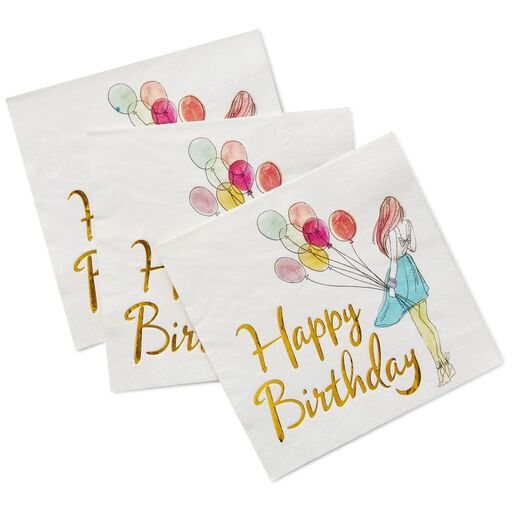 Happy Birthday Cocktail Napkins Pack Of 16