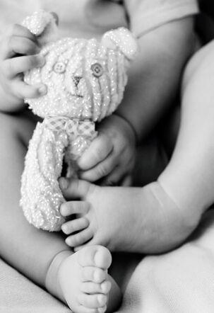 Baby and Teddy Bear Blank Baby Congratulations Card