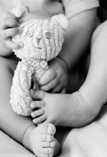 Baby and Teddy Bear Blank Baby Congratulations Card,