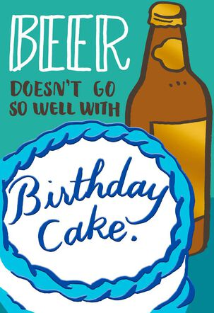 Beer and Cake Funny Birthday Card