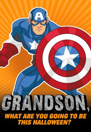 Captain America Totally Amazing Halloween Card for Grandson