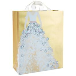 "Gold Metallic Wedding Dress X-Large Gift Bag, 15.5"", , large"