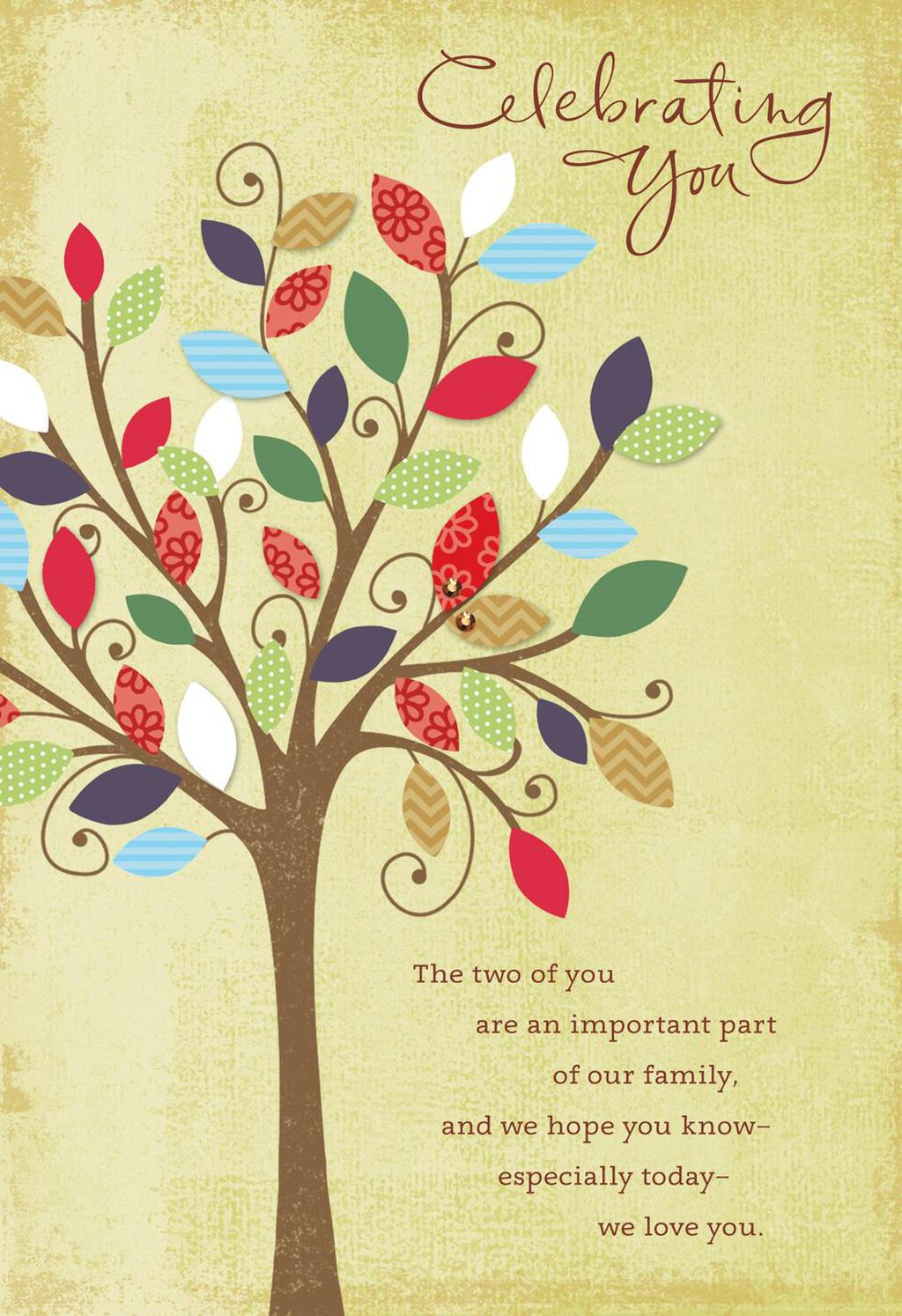 Family Tree Anniversary Card For Son And Daughter In Law Greeting