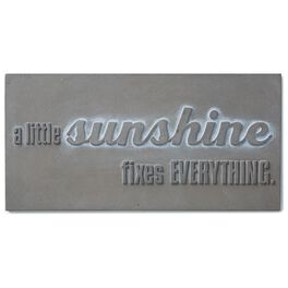 A Little Sunshine Fixes Everything Stamped Concrete Sign, 12x6, , large