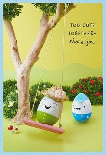 Egg on Swing Easter Card,
