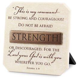 Strength Stone Plaque - Joshua 1:9, , large