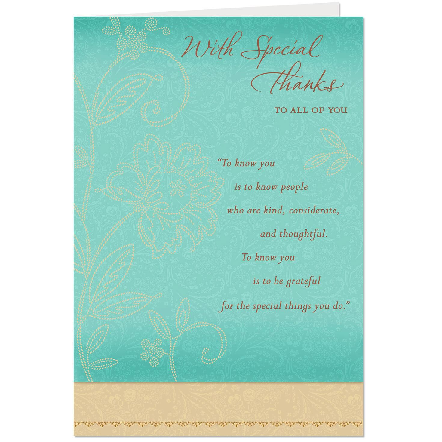 Special People Thank You Card To All Greeting Cards Hallmark