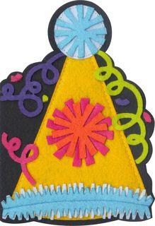 Party Hat Felt Musical Birthday Card,