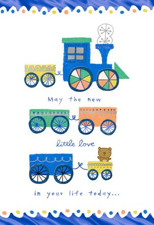 Toy Train New Baby Card