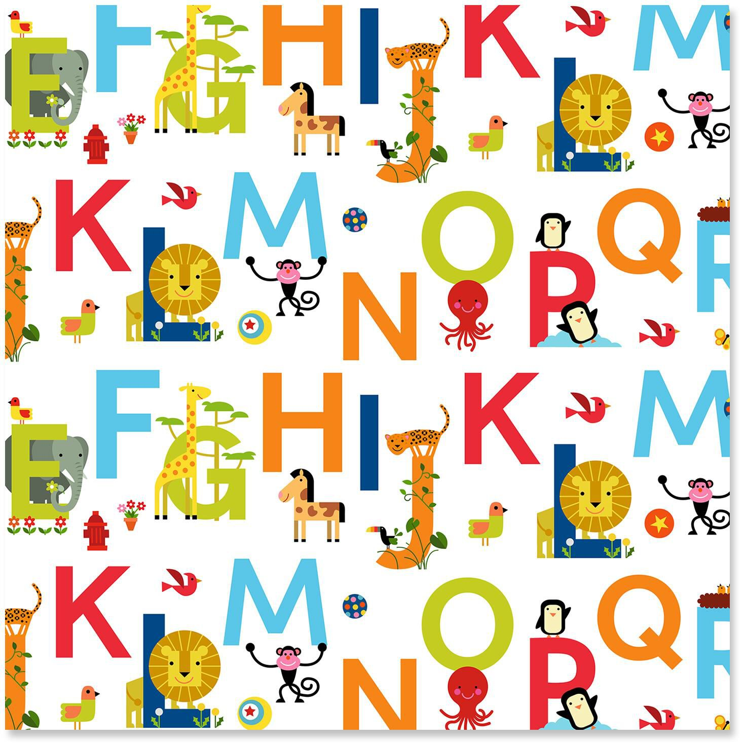 ABC Alphabet And Animals Wrapping Paper Roll 27 Sq Ft