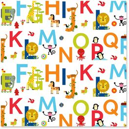 ABC Alphabet and Animals Wrapping Paper Roll, 27 sq. ft., , large