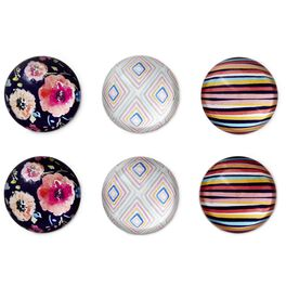 Haute Girls™ Floral and Geometric Glass Magnets, Set of 6, , large