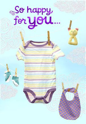 Baby Clothes Baby Congratulations Card