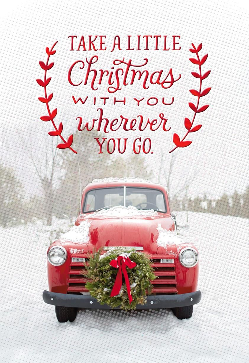 Vintage Red Pickup Truck Christmas Card - Greeting Cards ...