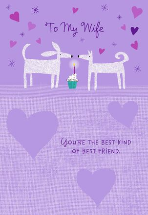 Cute Dogs With Cupcake Birthday Card for Wife