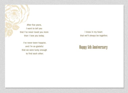 Together Forever 5th Anniversary Card,