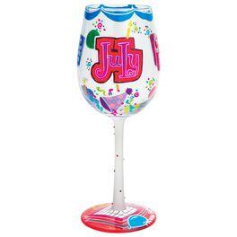 Lolita® July Happy Birthday Handpainted Wine Glass, 15 oz., , large