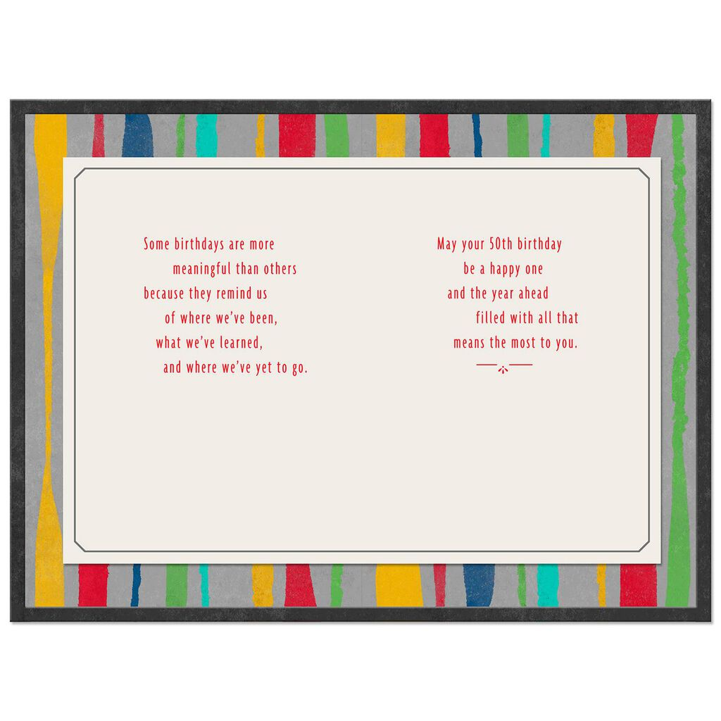 Colorful Stripes Meaningful Moments 50th Birthday Card