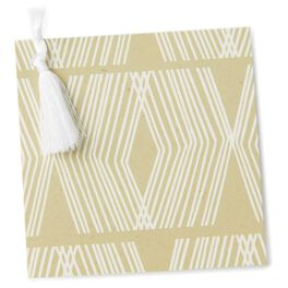 White on Gold Geometric Gift Tag With Ribbon, , large