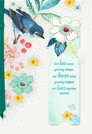 Bird on Branch Mother's Day Card With Bookmark