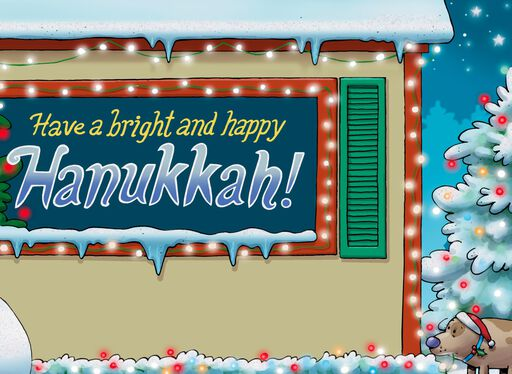 Snowmen Holiday Lights Funny Hanukkah Card,