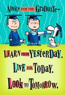 Peanuts® Good Advice Graduation Card,