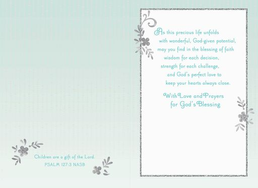 Baby Feet Religious Baptism Card for Boy,