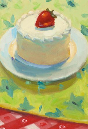 Cake With Strawberry Painting Blank Birthday Card